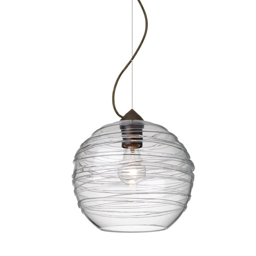 Besa Lighting Wave Bronze 10-Inch Wide One-Light KX Incandescent 120v Mini Pendant with Dome Canopy, Cable, and Clear Glass