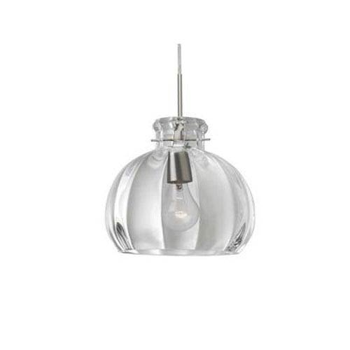 Besa Lighting Pinta Satin Nickel 10.25 Wide One-Light Incandescent 120v Mini Pendant with Dome Canopy, Cable, and Clear Glass