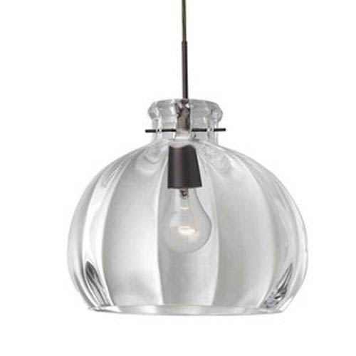 Besa Lighting Pinta Bronze 14.25 Wide One-Light KX Incandescent 120v Mini Pendant with Dome Canopy, Cable, and Clear Glass
