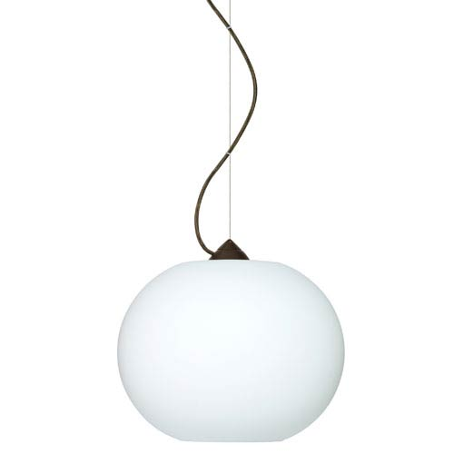 Besa Lighting Luna Bronze One-Light Incandescent 120v Mini Pendant with Dome Canopy, Cable, and Opal Matte Glass