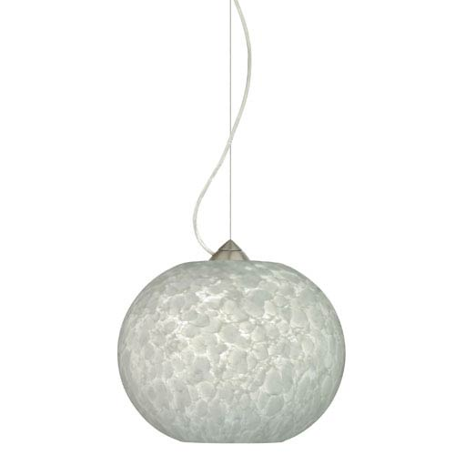 Besa Lighting Luna Satin Nickel One-Light Incandescent 120v Mini Pendant with Dome Canopy, Cable, and Carrera Glass