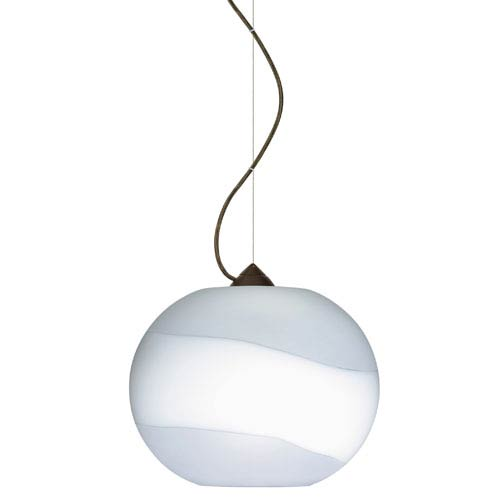 Luna Bronze One-Light Incandescent 120v Mini Pendant with Dome Canopy, Cable, and Opal Frost Glass