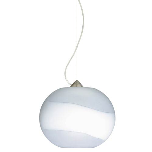 Luna Satin Nickel One-Light Incandescent 120v Mini Pendant with Dome Canopy, Cable, and Opal Frost Glass