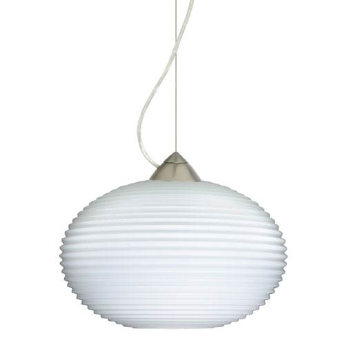 Besa Lighting Pape Satin Nickel One-Light Incandescent 120v Mini Pendant with Dome Canopy, Cable, and Opal Ribbed Glass