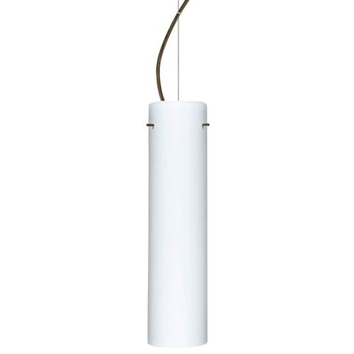 Besa Lighting Stilo Bronze One-Light Incandescent 120v Mini Pendant with Dome Canopy, Cable, and Opal Matte Glass