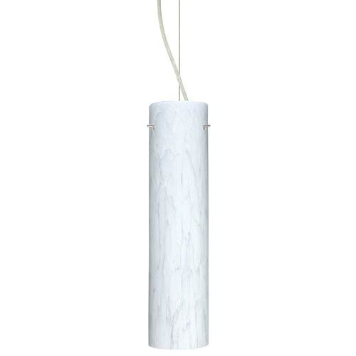Besa Lighting Stilo Satin Nickel One-Light Incandescent 120v Mini Pendant with Dome Canopy, Cable, and Carrera Glass