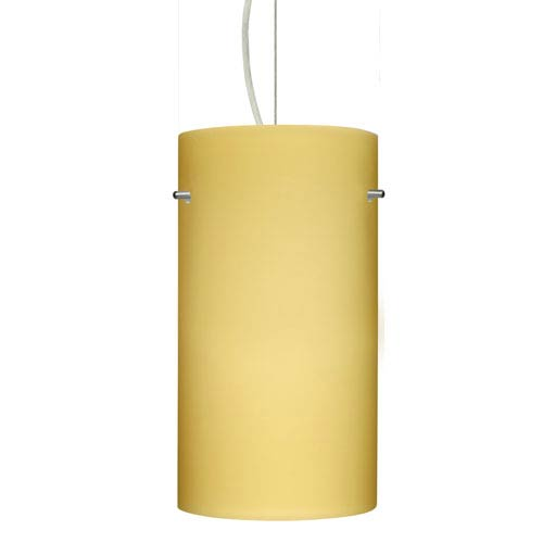 Tondo 12 Satin Nickel One-Light LED Mini Pendant with Vanilla Matte Glass
