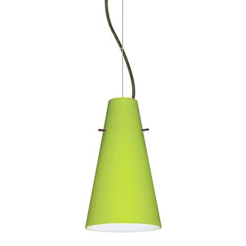 Cierro Bronze 5.One-Light LED Mini Pendant with Chartreuse Glass
