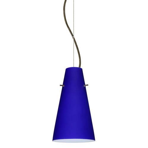 Cierro Bronze 5.One-Light LED Mini Pendant with Cobalt Blue Matte Glass