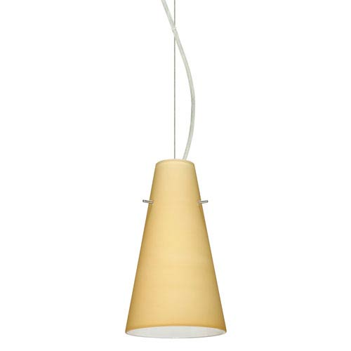Cierro Satin Nickel 5.One-Light LED Mini Pendant with Vanilla Matte Glass