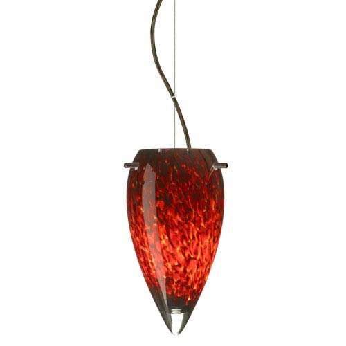Juli Bronze One-Light LED Mini Pendant with Garnet Glass, Dome Canopy