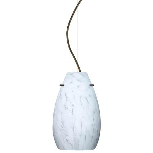 Pera 9 Bronze One-Light LED Mini Pendant with Carrera Glass, Dome Canopy