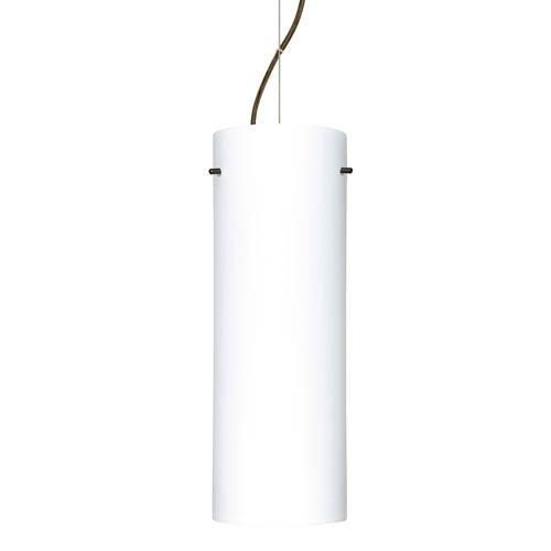 Tondo 18 Bronze One-Light LED Mini Pendant with Opal Matte Glass