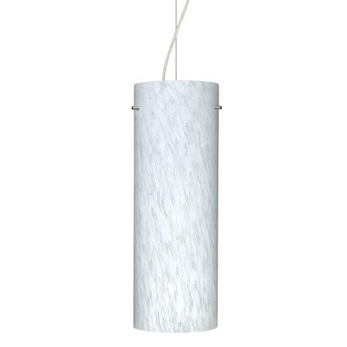 Tondo 18 Satin Nickel One-Light LED Mini Pendant with Carrera Glass