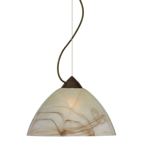 Tessa Bronze 10.One-Light LED Pendant with Mocha Glass, Dome Canopy