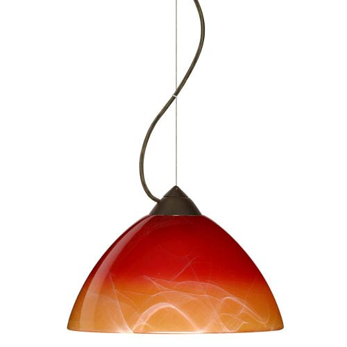 Tessa Bronze 10.One-Light LED Pendant with Solare Glass, Dome Canopy