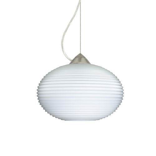 Pape 12 Satin Nickel One-Light LED Pendant with Opal Ribbed Glass, Dome Canopy