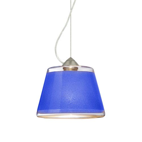Pica 9 Satin Nickel 8.One-Light LED Pendant with Blue Sand Glass, Dome Canopy