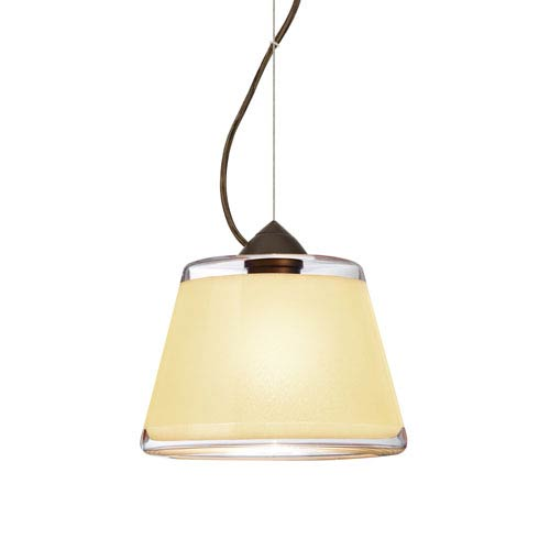 Pica 9 Bronze 8.One-Light LED Pendant with Creme Sand Glass, Dome Canopy