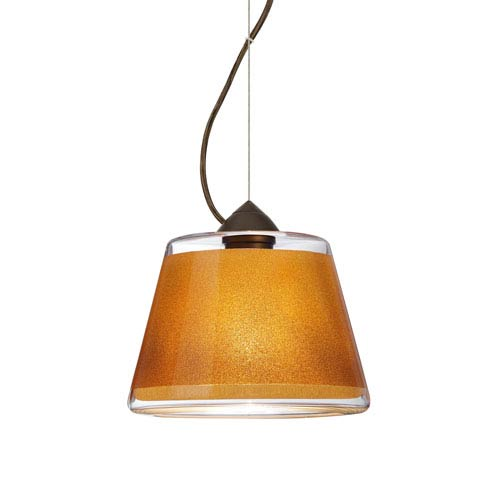 Pica 9 Bronze 8.One-Light LED Pendant with Gold Sand Glass, Dome Canopy