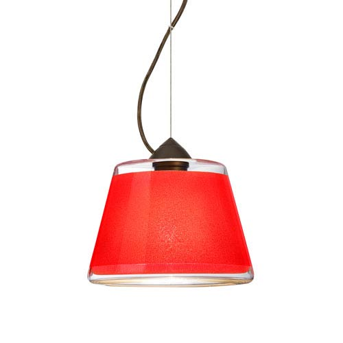 Pica 9 Bronze 8.One-Light Pendant with Red Sand Glass, Dome Canopy