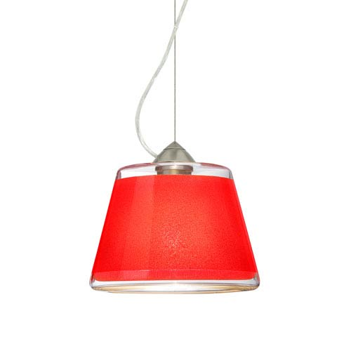 Pica 9 Satin Nickel 8.One-Light LED Pendant with Red Sand Glass, Dome Canopy