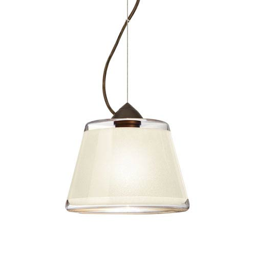 Pica 9 Bronze 8.One-Light Pendant with White Sand Glass, Dome Canopy