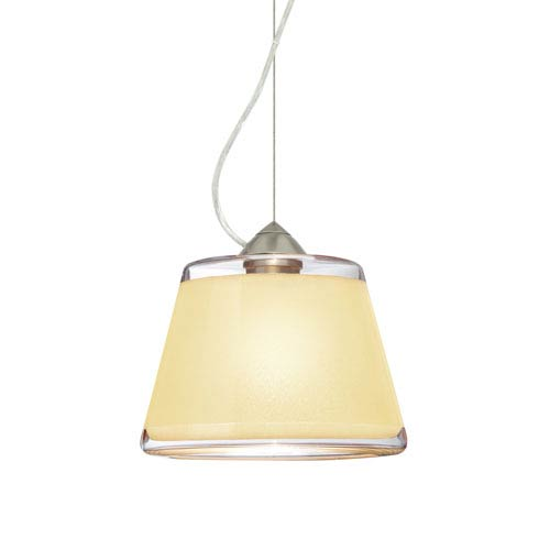 Pica 9 Satin Nickel 8.One-Light Pendant with Creme Sand Glass, Dome Canopy