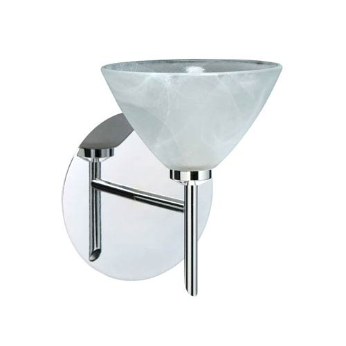 Besa Lighting Domi Chrome One-Light Halogen Wall Sconce with Marble Glass