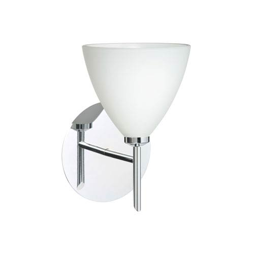 Besa Lighting Mia Chrome One-Light Halogen Wall Sconce with Opal Matte Glass