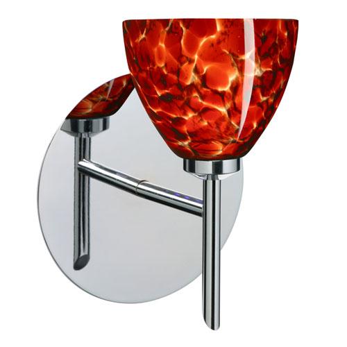Besa Lighting Divi Chrome One-Light Halogen Wall Sconce with Garnet Glass