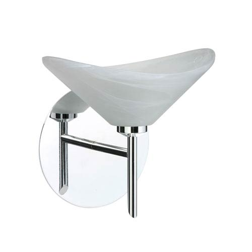Besa Lighting Hoppi Chrome One-Light Halogen Wall Sconce with Marble Glass