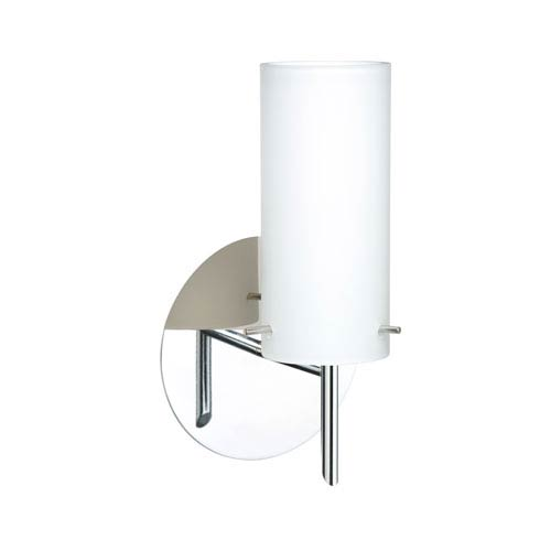 Besa Lighting Copa Chrome One-Light Halogen Wall Sconce with Opal Matte Glass