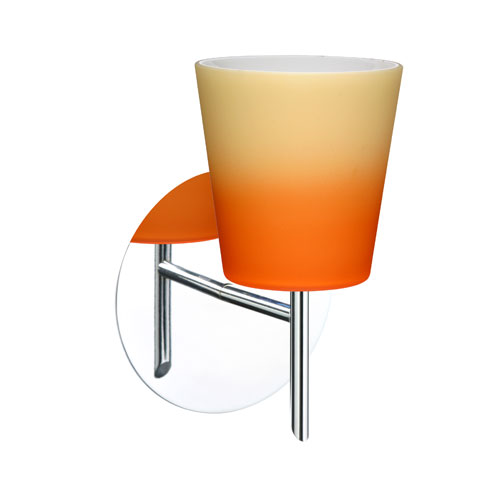 Besa Lighting Canto Chrome One-Light Halogen Wall Sconce with Bicolor Orange and Pina Glass