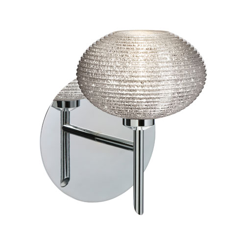 Lasso Chrome One-Light Halogen Wall Sconce with Glitter Glass