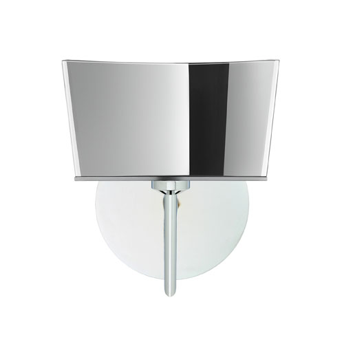 Besa Lighting Groove Chrome One-Light Halogen Wall Sconce with Mirror-Frost Glass
