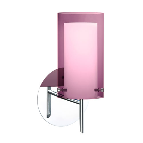 Pahu Chrome One-Light Halogen Wall Sconce with Transparent Amethyst and Opal Glass
