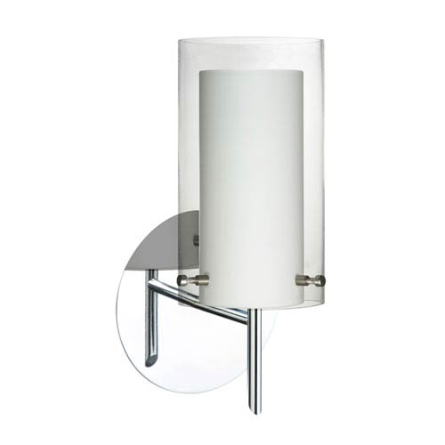 Besa Lighting Pahu Chrome One-Light Halogen Wall Sconce with Clear and Opal Glass