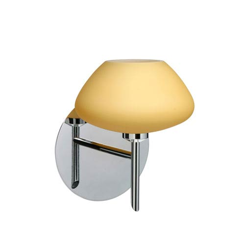 Peri Chrome One-Light LED Bath Sconce with Vanilla Matte Glass