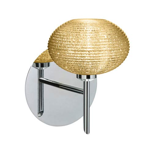 Lasso Chrome One-Light LED Bath Sconce with Gold Glitter Glass