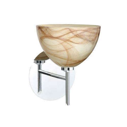 Brella Chrome One-Light LED Bath Sconce with Mocha Glass
