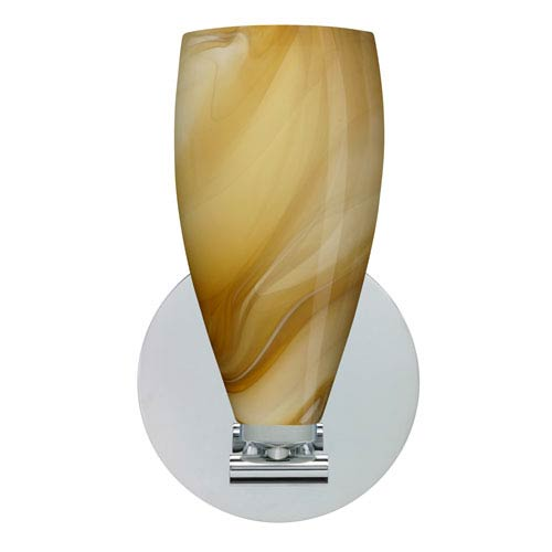 Karli Polished Nickel One-Light LED Bath Sconce with Honey Glass