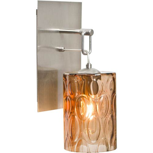 Cruise Satin Nickel One-Light Wall Sconce with Amber Shade
