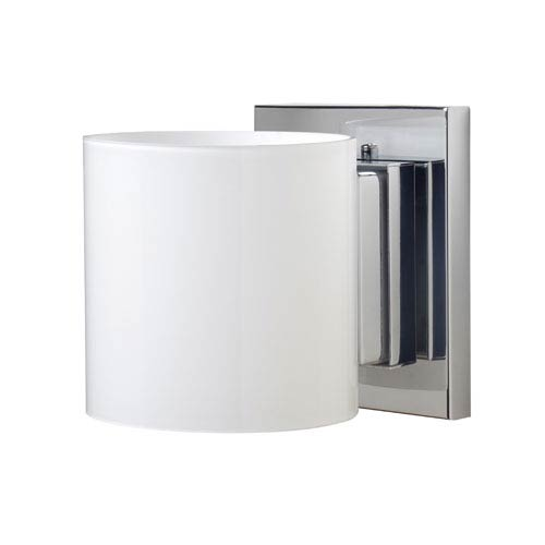 Besa Lighting Pogo Chrome One-Light Halogen Wall Sconce with Opal Glossy Glass