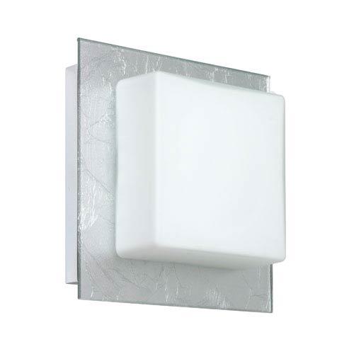 Besa Lighting Alex Chrome One-Light Bath Fixture with Opal and Silver Foil Glass