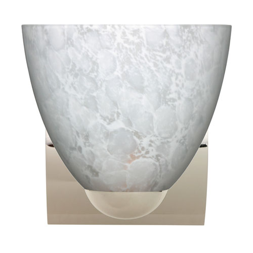 Sasha Chrome One-Light Incandescent Wall Sconce with Carrera Glass