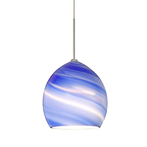 Sprite Satin Nickel One-Light Fixed-Connect Mini Pendant with Blue Twist Glass