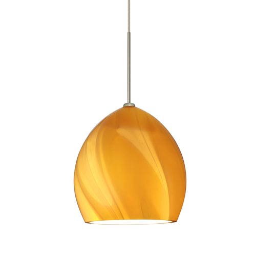 Sprite Satin Nickel One-Light Fixed-Connect Mini Pendant with Honey Glass