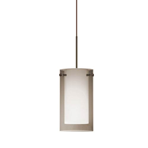 Pahu 4 Bronze One-Light Fixed-Connect Mini Pendant with Transparent Smoke Glass