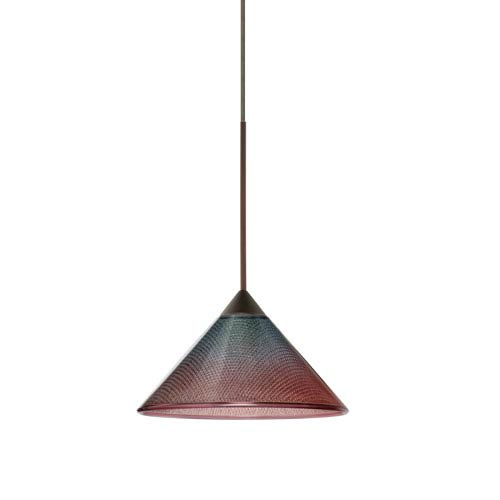 Besa Lighting Kona Bronze LED Mini Pendant with Flat Canopy and Bi-Color Glass